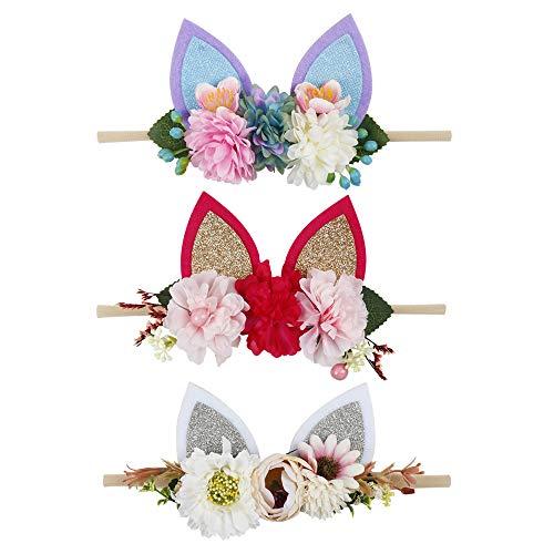 Easter Floral Headbands For Baby Girls Lightweight Flower Nylon Elastic Hair Band For Newborn Infant Toddler (3 Pcs Rabbit Ears Headbands)