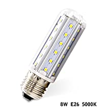ALOTOA 8W LED Corn Light Bulb, E26 Base, 42pcs Epistar 2835 SMD, 5000K, 880lm Soft Street Lighting for Indoor Outdoor Large Area (White)