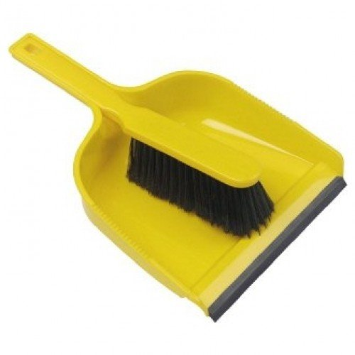 Janitorial Express HN071-Y Dust Pan and Brush Set, Stiff, Yellow