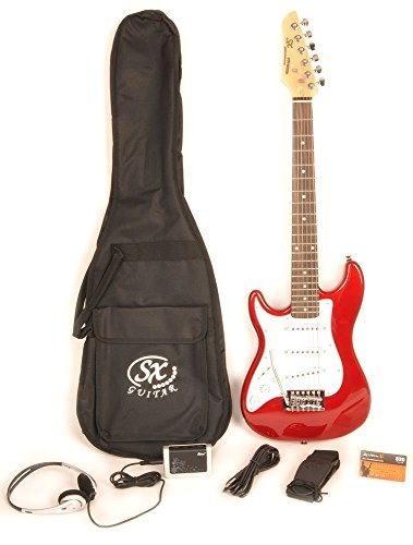 Left Handed Electric Guitar 1/2 Size (34 Inch) Red w/Pocket Amp, Carry Bag, Strap & On Line Video Lessons SX RST 1/2 CAR LH