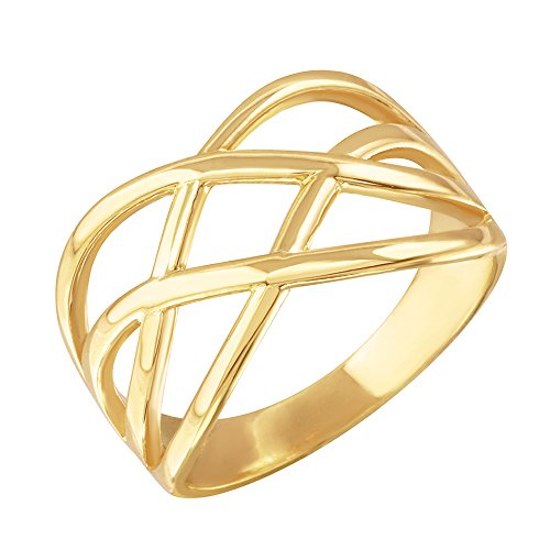 Fine 10k Yellow Gold Celtic Knot Wide Band Ring for Women (Size 7)