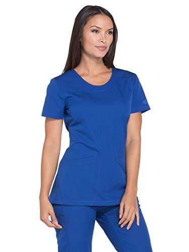 Dynamix Women's DK720 Rounded V-Neck Top by Dickies Medical- Galaxy Blue- Medium