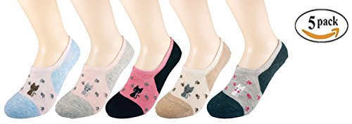 Wummly Womens No Show Invisible Low Cut non-slip Silicone Grip Socks ( Pack Of 5 )