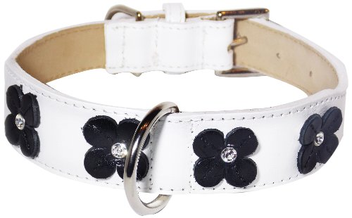 Flower Rivet Tapered Dog Collar, Small Size 9-11, White with Black Flowers