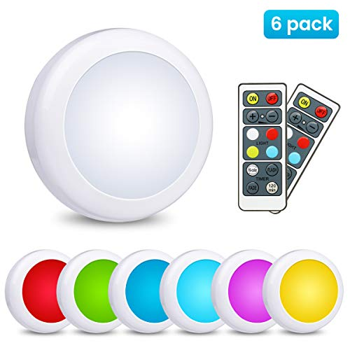 LED Closet Lights Elfeland Wireless Color Changing LED Puck Lights 3 Modes RGB Cabinet Lights Under Counter Lighting with 2 Remote Controls Battery Powered Lights Stick On Lights(6 Pack)