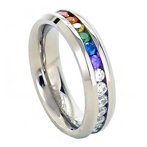 gay lesbian pride stainless steel ring great as gay gift or wedding marriage or engagement band w cz stones lgbt ring jewelry - Gay Wedding Ring