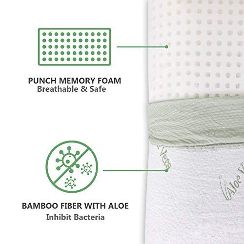 HOMFY Orthopädisches Kissen für Nacken Schutz Kopfkissen aus reiner Memory Foam (Antiallergiker) Schlafkissen aus luftdurchlässiger Bambusfaser mit Aloe-Vera-Bezug 73x40x15cm weiß