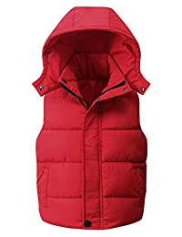 Happy Cherry Kids Padded Vest Winter Puffy Detachable Hooded Sleeveless Jacket 5-12T