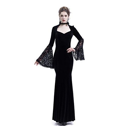Elegant Mermaid Velvet Dark Queen Morticia Addams Gothic Victorian Evening Maxi Dress (X-Small, -