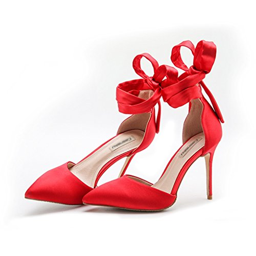 summer silk satin strap high heel wedding shoes empty header wild sandals Women single nude fine with pointed high heels ( Color : Red 10cm , Size : 38 ) Red 10cm