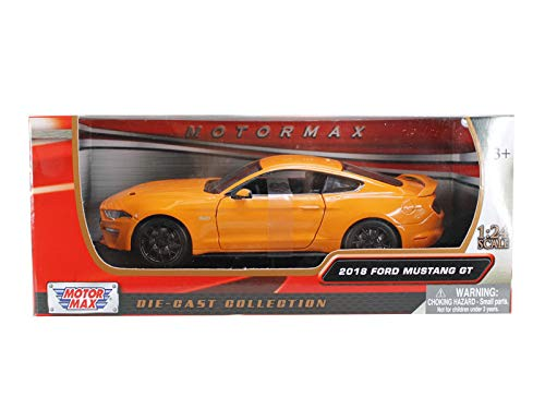 (2018 Ford Mustang GT 5.0 Orange with Black Wheels 1/24 Diecast Model Car by Motormax 79352or)