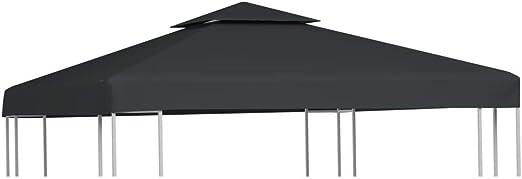 vidaXL Toldo de Cenador de Repuesto Tela Gris Oscuro 3x3 m ...