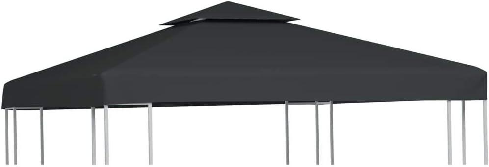 vidaXL Toldo de Cenador de Repuesto Tela Gris Oscuro 3x3 m Techo ...