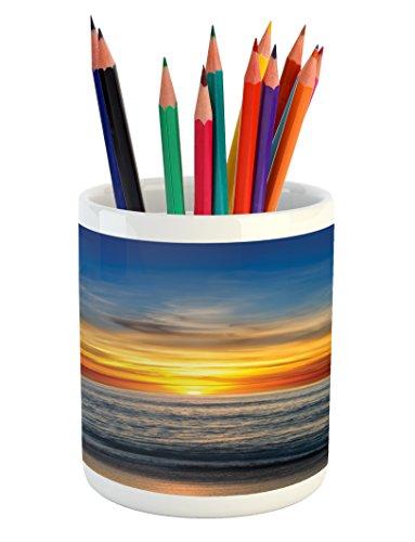 Ambesonne Ocean Pencil Pen Holder, Sunset Over Pacific Ocean from La Jolla California Sun Rays Colored Sky Photo Print, Printed Ceramic Pencil Pen Holder for Desk Office Accessory, Orange Blue