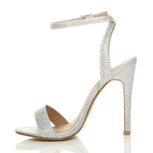 Shoes Silver Barely High Glitter Sandals Mesh Ajvani Heel Women There Size RUUqPYw