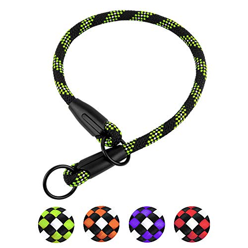 (BronzeDog Rope Dog Collar Slip Choke Reflective Pet Collars for Small Medium Large Dogs Purple Orange Green (L, Green))