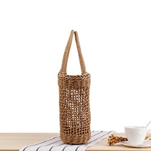 Brown as Straw Bag Shoulder Beach P Brown Shopping Tote Prettyia Handmade described Basket Woven Girls Summer tqTZw7