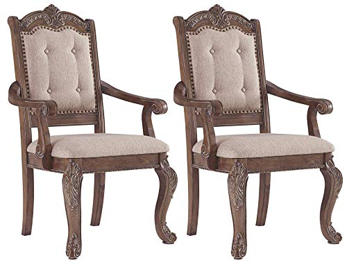 Signature Design By Ashley - Charmond Dining Upholstered Arm Chair - Set of 2 - Traditional Style - Brown (Chairs With Arms Dining Upholstered)