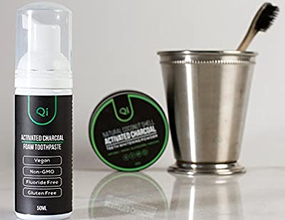 Qi Teeth Whitening Foam Toothpaste and Toothbrush KIT, Mint-Flavored Coconut Shell Activated Charcoal, Bamboo Toothbrush, Vegan Fluoride-Free for Quickly Removing Tooth Stains. Whitens Sensitive Teeth