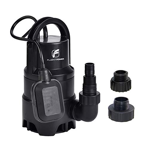 "FLUENTPOWER Electric Submersible Pump 1/3HP with Max Flow 2100 GPH Clean/Dirty Submersible Sump Pump Included 3/4"" Standard Garden Hose Connector and Float Switch for Automatic Operation"