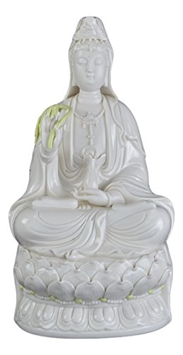 Festcool 12 Fine Porcelain Quan Yin Buddha Sitting on a Lotus Statue, Guanyin, Kwan Yin, Kuanyin, Goddess of Mercy on Altar White Dehua 519