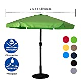 Sundale Outdoor 7.5 Feet Aluminum Beach Drape Umbrella Table Market Umbrella with Crank and Push Button Tilt for Patio, Garden, Deck, Backyard, 6 Fiberglass Ribs, 100% Polyester Canopy (Apple Green) For Sale