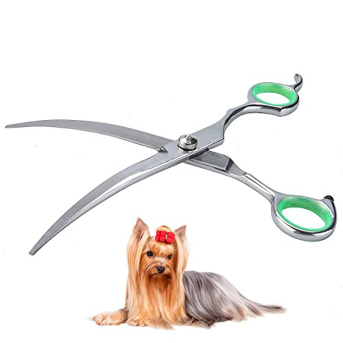 LovinPet Dog Scissors Grooming Curved Stainless Steel Pet Professional Safety Scissors