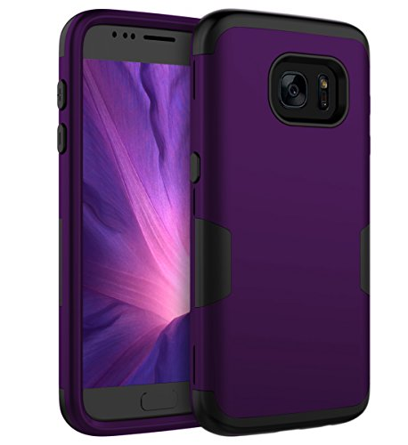 Ulsaar Samsung Galaxy S7 Case Slim Fit Three Layer Silicone and Plastic Shockproof Heavy Duty Protection,Purple Black