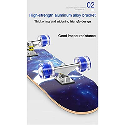 OFFA Skateboard, Skate Board Skateboards 31x8 Inch Complete Skateboard Maple Wood Double Kick Tricks Cruiser Deck Skateboard for Beginners Kids Boys Girls Teens (Color : C): Home & Kitchen
