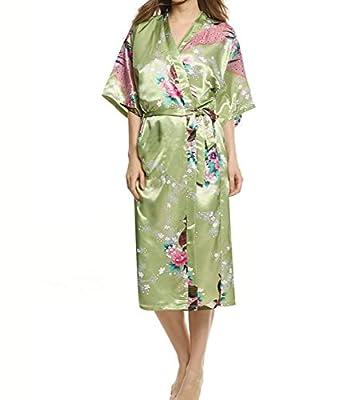 YueLian Women's Satin Peacock and Flower Japanese Kimono Long Bathrobe