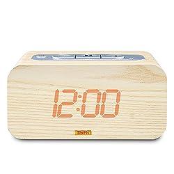 TinyFin Wood Grain Bluetooth Digital Alarm Clock Wired Wireless Connectivity Speaker