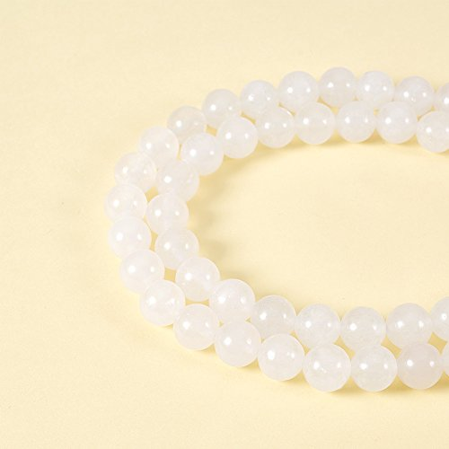 NBEADS 5 Strands Natural White Jade Gemstone Smooth Round Loose Beads 8mm About 47pcs per Strand for Jewelry Making