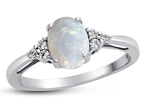Finejewelers 10k White Gold 8x6mm Oval Created Opal and White Topaz Ring Size 7