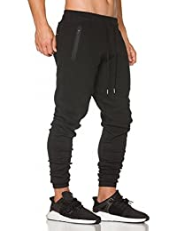 Mens Jogger Pants Gym Fitness Trousers Tracksuit Slim Fit Bottoms Training Sweatpants Zipper Pockets