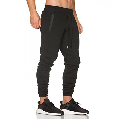 CR Mens Jogger Pants Gym Fitness Trousers Tracksuit Slim Fit Bottoms Training Sweatpants Zipper Pockets (Black, (Ribbed Tracksuit)
