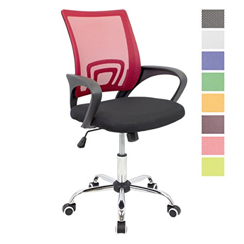 CashOffice - Silla de Escritorio Ergonomica, Silla de Oficina Giratoria con Respaldo Transpirable (Rojo)