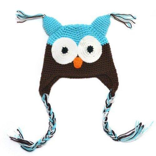 Crochet Baby Ear Flap Hat - LOCOMO Baby Knit Beanie Crochet Hoot Owl Hat Cap Ear Flap Blue Brown FBA003BLU