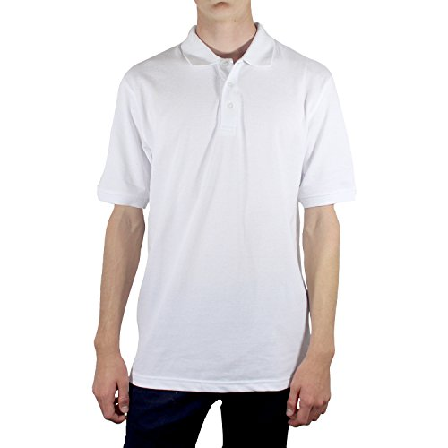 [LA Gate Mens Basic 3 button Collar Short Sleeve Polo Shirt(Small, White)] (Xxl Santa Suits For Sale)
