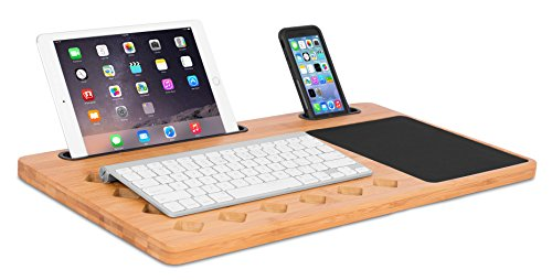 Great Deal! Sofia + Sam Bamboo Laptop Lap Desk Board - Multi Tasking Bed Tray Board - Diamond Vent H...