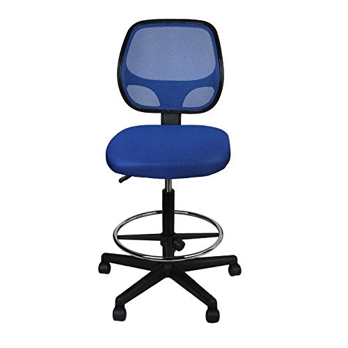LUCKWIND Office Drafting Chair Mesh - Armless Task Ergonomic Lumbar Support MidBack Computer Desk Chair Adjustable Stool Swivel Chair with Adjustable Chrome Foot Rest (SGS-BIFMA 21-27