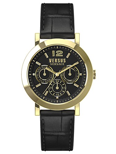 Versus-by-Versace-Unisex-SOR020015-MANHASSET-Gold-Ion-Plated-Watch-with-Black-Leather-Band