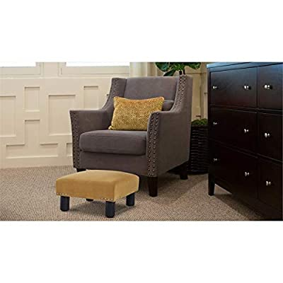 Brika Home Square Accent Foot Stool Ottoman in Gold