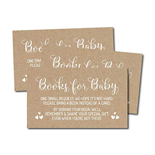 25 Rustic Kraft Books For Baby Request Insert Card For Boy or Girl Baby Shower Invitations or invite, White Cute Bring A Book Instead of A Card Theme For Gender Reveal Party Story Games, Business Card