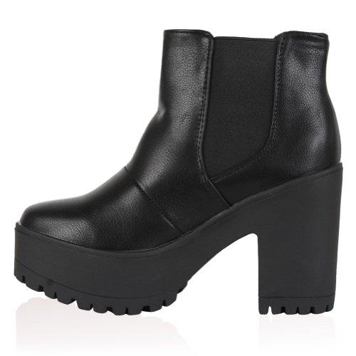 My1stWish Women's Chunky Platform Heel Ankle Boots Black GcoiL