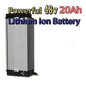 Batería de litio de 48 V 20 Ah con cargador de 4 A, batería eléctrica de alta potencia de 48 V 1500 W, batería de bicicleta eléctrica de 48 V 20 Ah para bicicleta eléctrica y motor de 1000 W/1500 W.