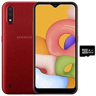 "Samsung Galaxy A01 (16GB, 2GB RAM) 5.7"" Infinity-V Display, Dual Rear Camera, Snapdragon 439, US & Global 4G LTE GSM Unlocked A015M/DS - International Mode (Red, 16GB + 64GB SD Bundle)"