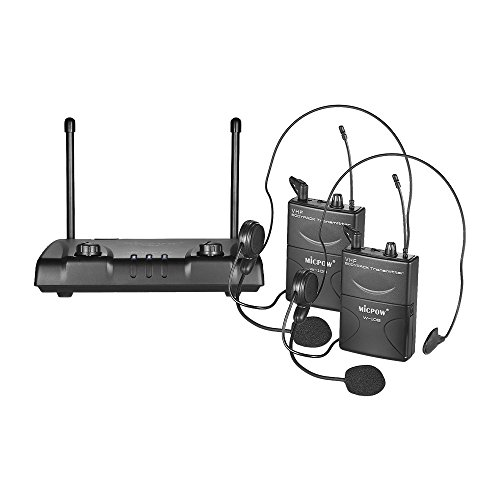 - Kalaok W-10 VHF Dual Channel Wireless Microphone Mic System with 2 Headset Microphones + 2 Bodypack Transmitters + 1 Receiver for Business Meeting Public Speech Classroom Teaching