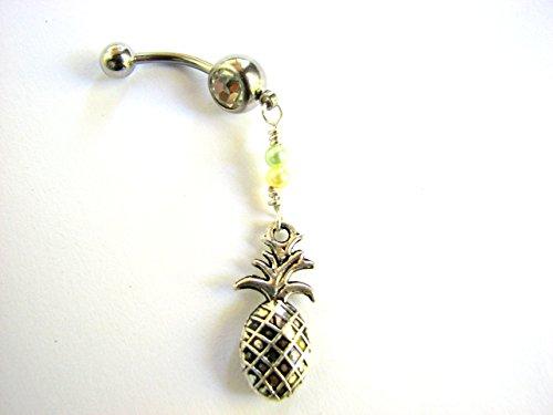 Pineapple Belly Button Ring, Dangle Navel (Pineapple Resin)