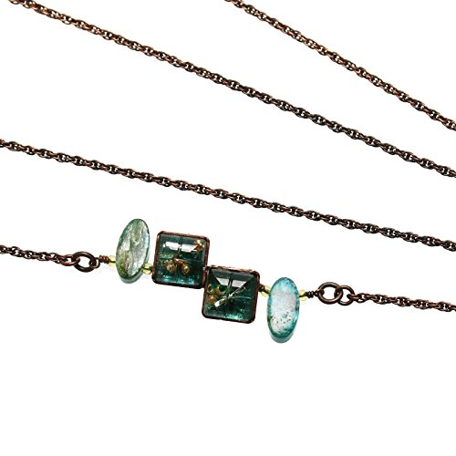 Tamarusan Glasses Chain Iolite Green Antique Style Square Emerald Color by TAMARUSAN