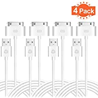 Evol (TM) Certified 6 Feet / 2 Meters 30 Pin to USB Sync and Charging Data Cable for iPhone 4/4S, iPhone 3G/3GS, iPad 1/2/3, iPod (4 Pack)